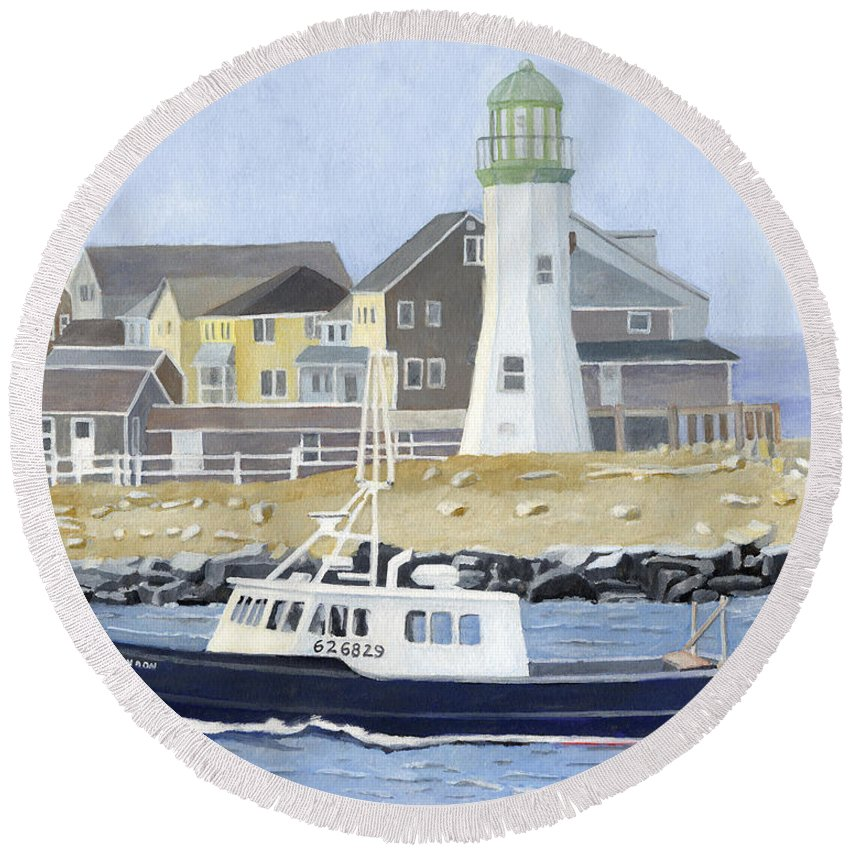Fishingboat Round Beach Towel featuring the painting The Michael Brandon by Dominic White