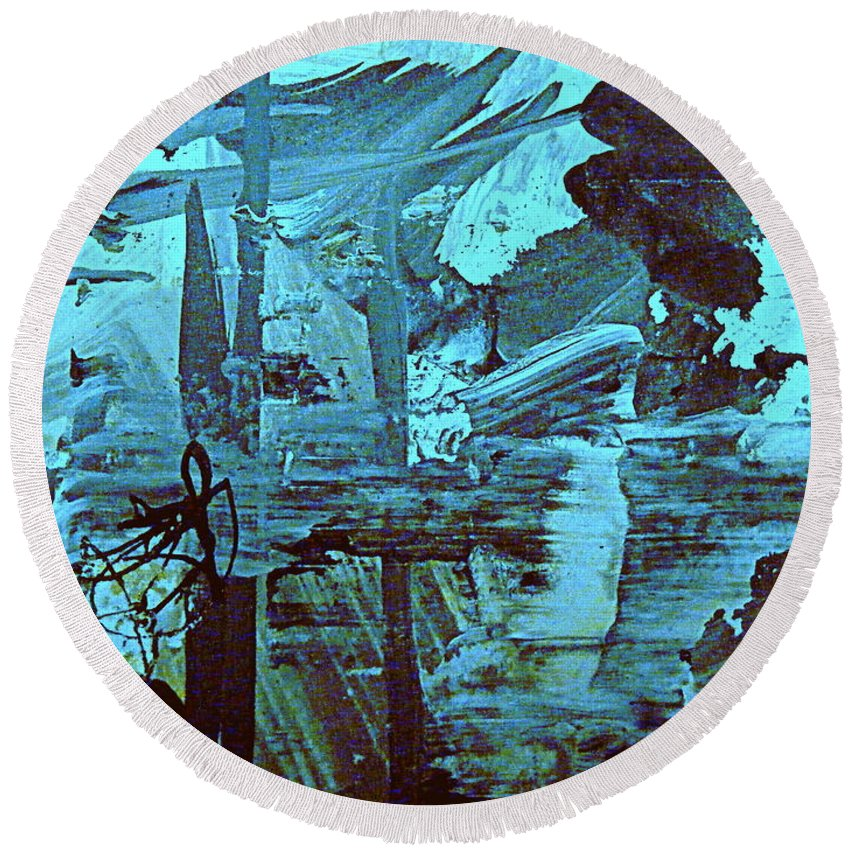 Abstract Environmental Painting Round Beach Towel featuring the painting The Mighty Flood by Nancy Kane Chapman