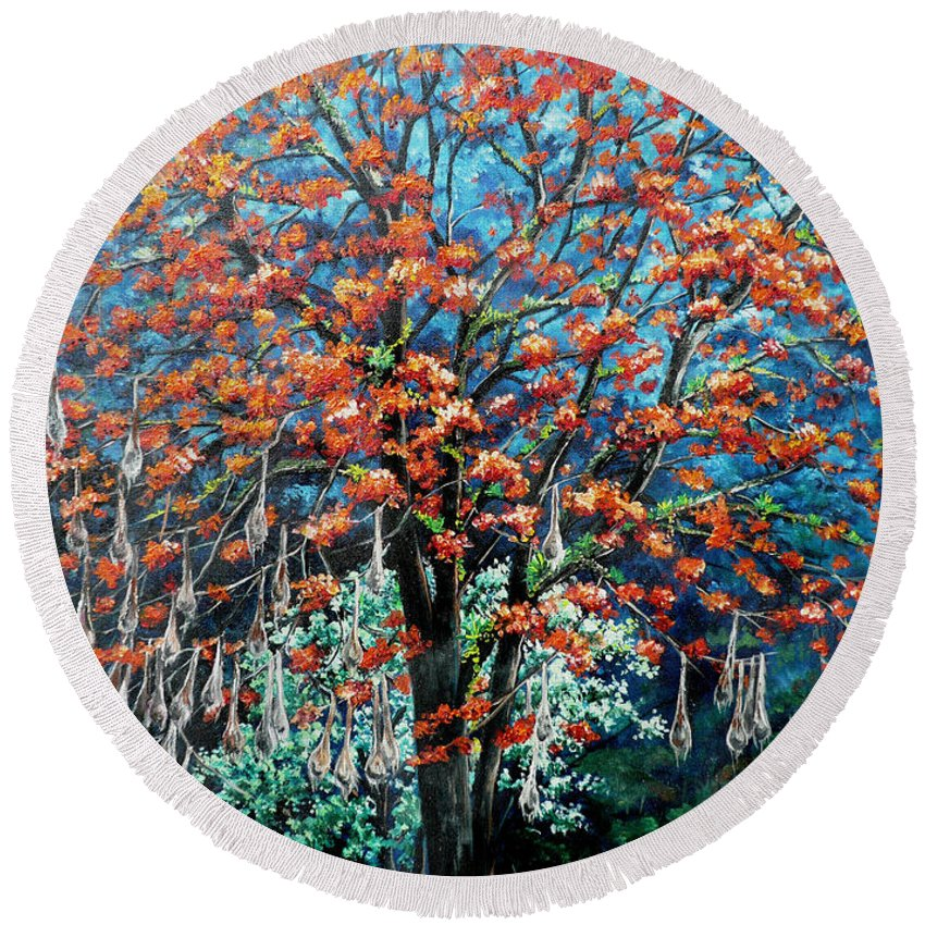 Tree Painting Mountain Painting Floral Painting Caribbean Painting Original Painting Of Immortelle Tree Painting  With Nesting Corn Oropendula Birds Painting In Northern Mountains Of Trinidad And Tobago Painting Round Beach Towel featuring the painting The Mighty Immortelle by Karin Dawn Kelshall- Best