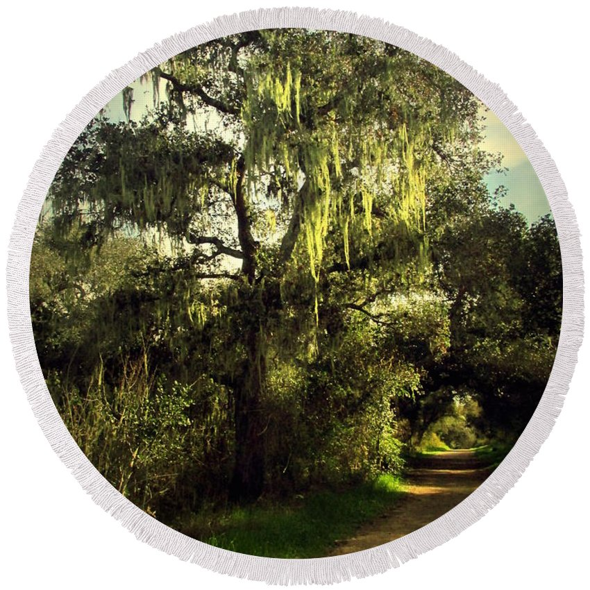 Oak Round Beach Towel featuring the photograph The Mighty Oaks Of Garland Ranch Park 2 by Joyce Dickens