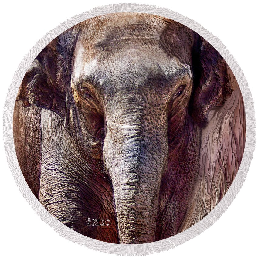 Elephant Round Beach Towel featuring the mixed media The Mighty One by Carol Cavalaris