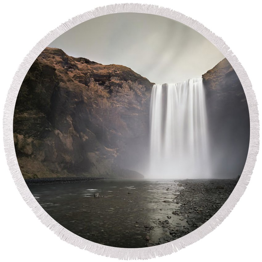Iceland Round Beach Towel featuring the photograph The Mighty Skogafoss by Chris Frost