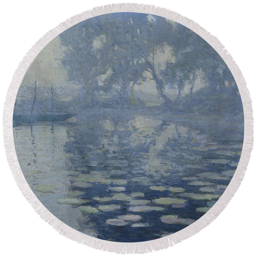 Paul Madeline Round Beach Towel featuring the painting The Mill Pond by Paul Madeline
