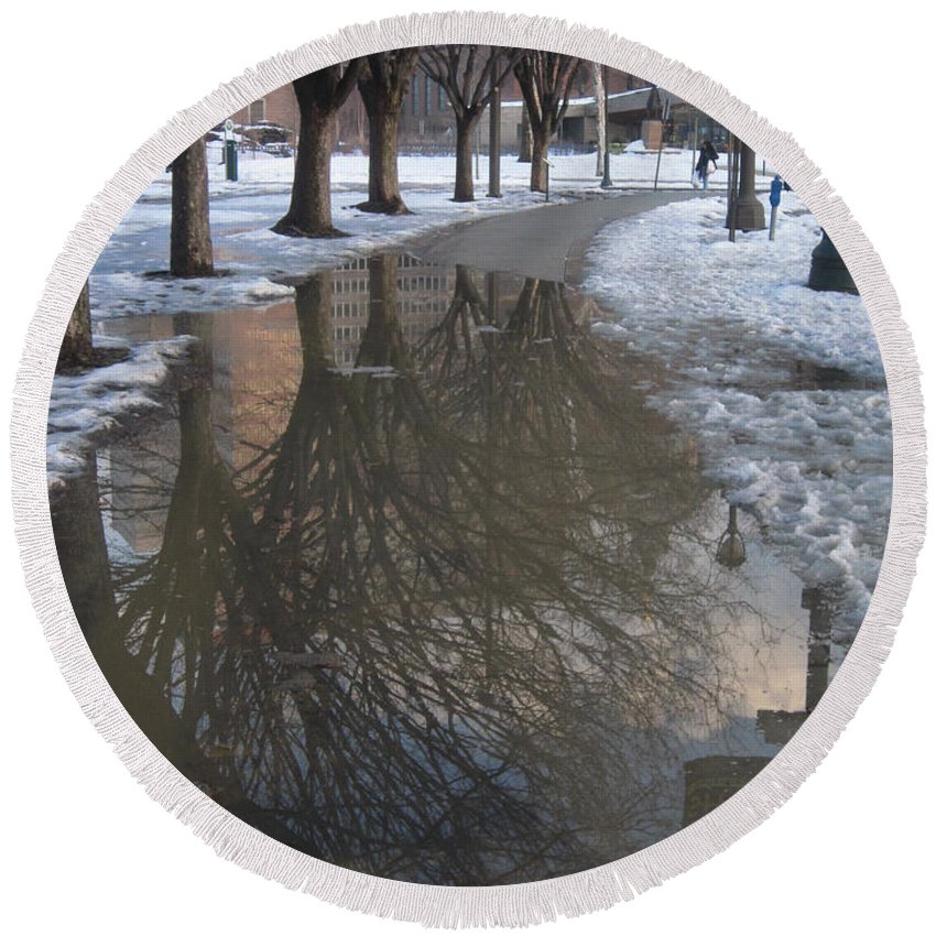 Mirror Round Beach Towel featuring the photograph The Mirrored Streets Of Philadelphia In Winter by Clay Cofer