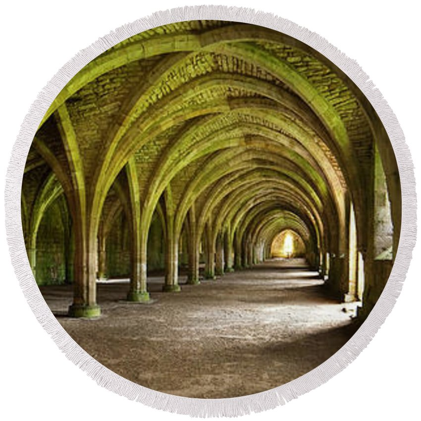 Cistercian Round Beach Towel featuring the photograph The Monks Cellarium, Fountains Abbey. by Chris North