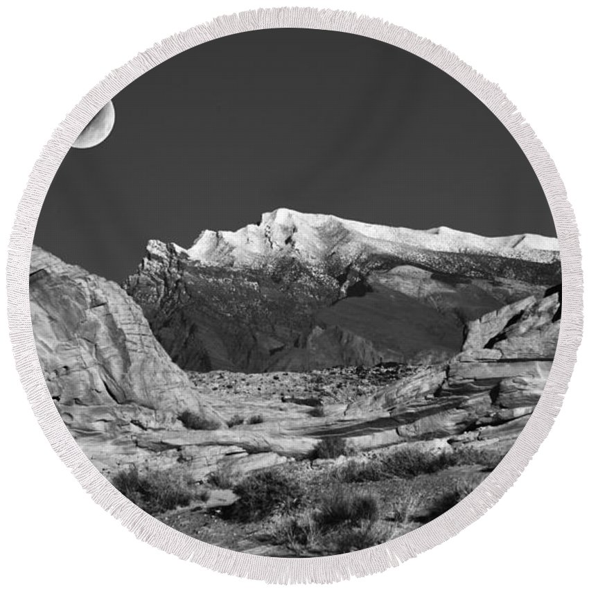 Moon Round Beach Towel featuring the photograph The Moon And The Mountain Range by Mike Nellums