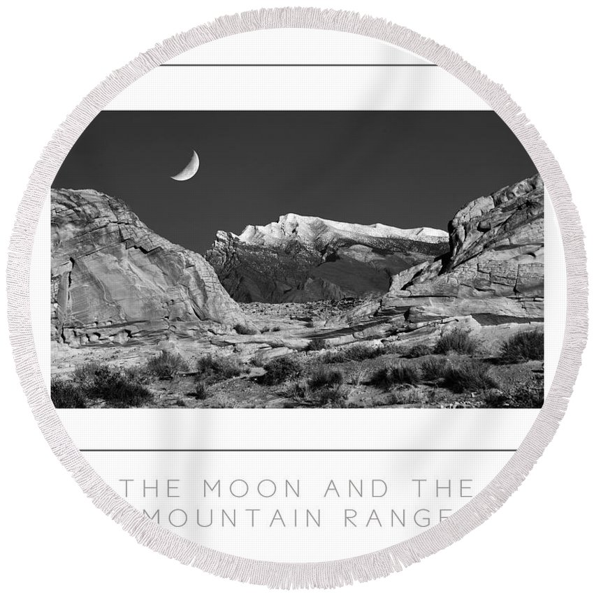 Moon Round Beach Towel featuring the photograph The Moon And The Mountain Range Poster by Mike Nellums
