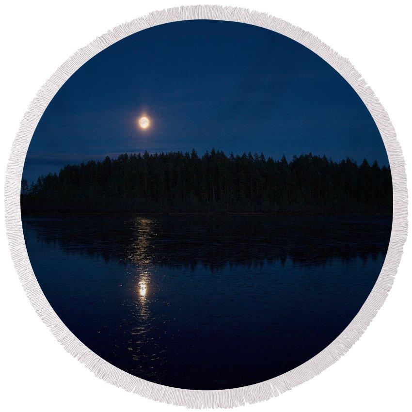 Lehtokukka Round Beach Towel featuring the photograph The Moon Over Saari-soljanen by Jouko Lehto