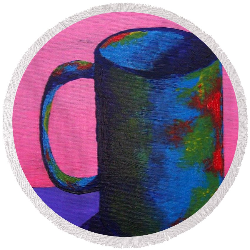 Art & Collectibles Painting Acrylic Coffee Mug Cup Of Coffee Still Life Sunrise Brown Painting Purple Artwork Kitchen Table Home Decor Colorful Red Highlights Yellow Shine White Art Drink Beverage Round Beach Towel featuring the painting The Morning Cup Of Coffee by Mike Kraus