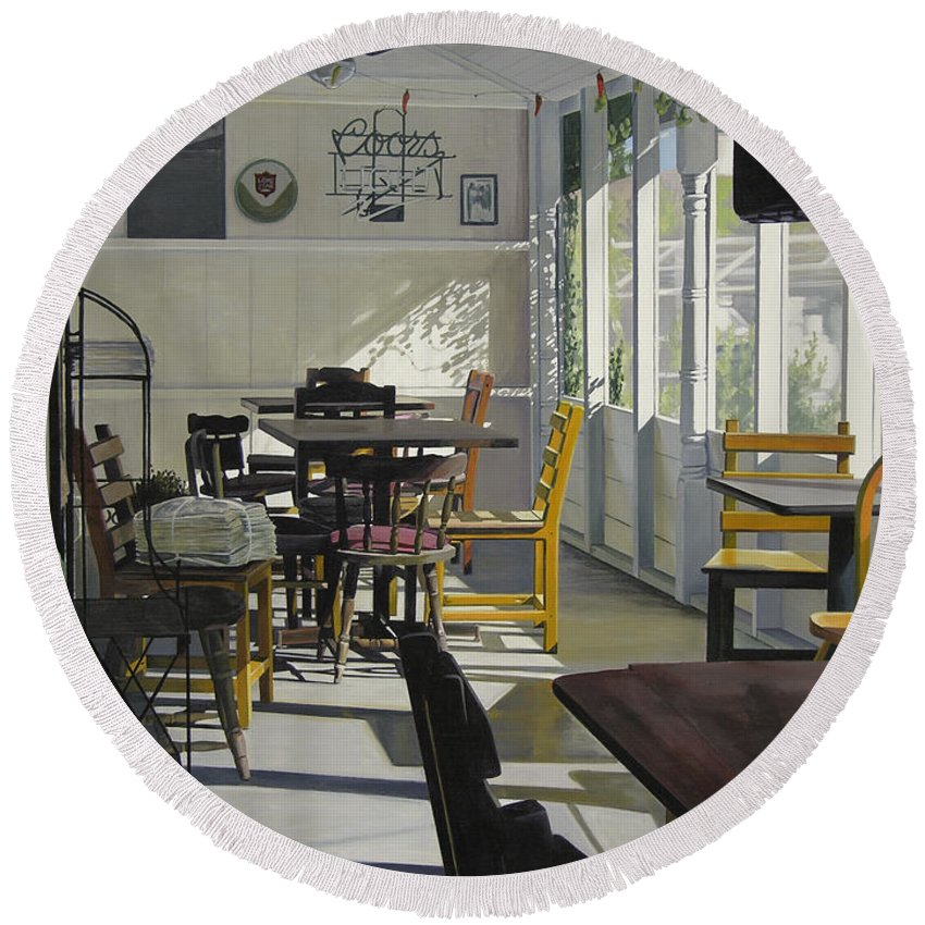 Interior Round Beach Towel featuring the painting The Morning Paper by Rebecca Zook