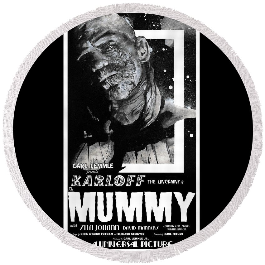 Mummy Round Beach Towel featuring the mixed media The Mummy 1932 Movie Poster by Sean Parnell