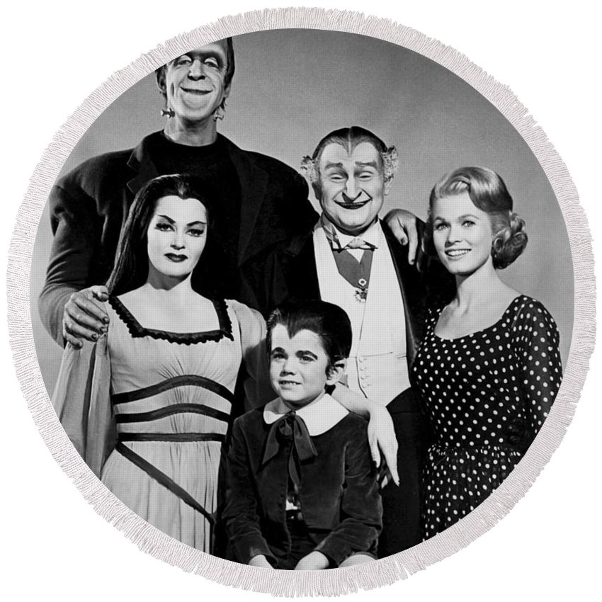 The Munster Family Portrait Round Beach Towel featuring the photograph The Munster Family Portrait by Pd