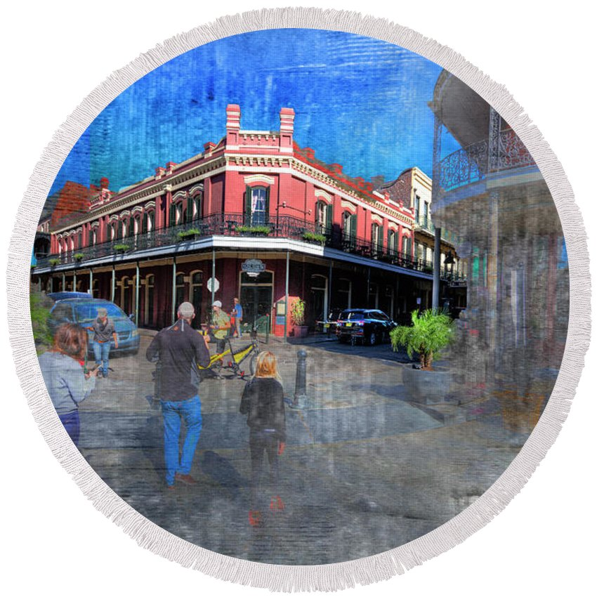Texture Round Beach Towel featuring the photograph The Muriel's Of Jackson Square by Larry Braun