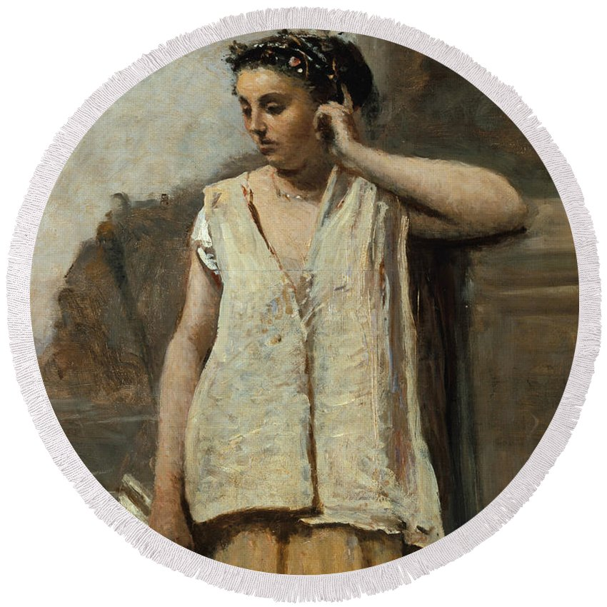 Jean-baptiste-camille Corot Round Beach Towel featuring the painting The Muse. History by Jean-Baptiste-Camille Corot