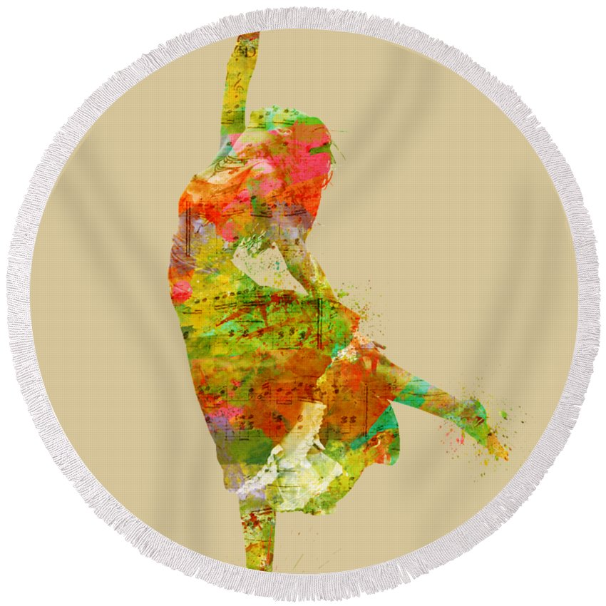Dancer Round Beach Towel featuring the digital art The Music Rushing Through Me by Nikki Smith