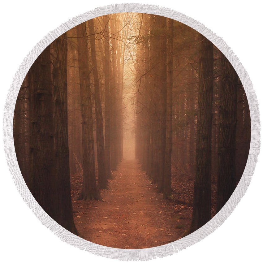 Trees Round Beach Towel featuring the photograph The Narrow Path by Rob Blair