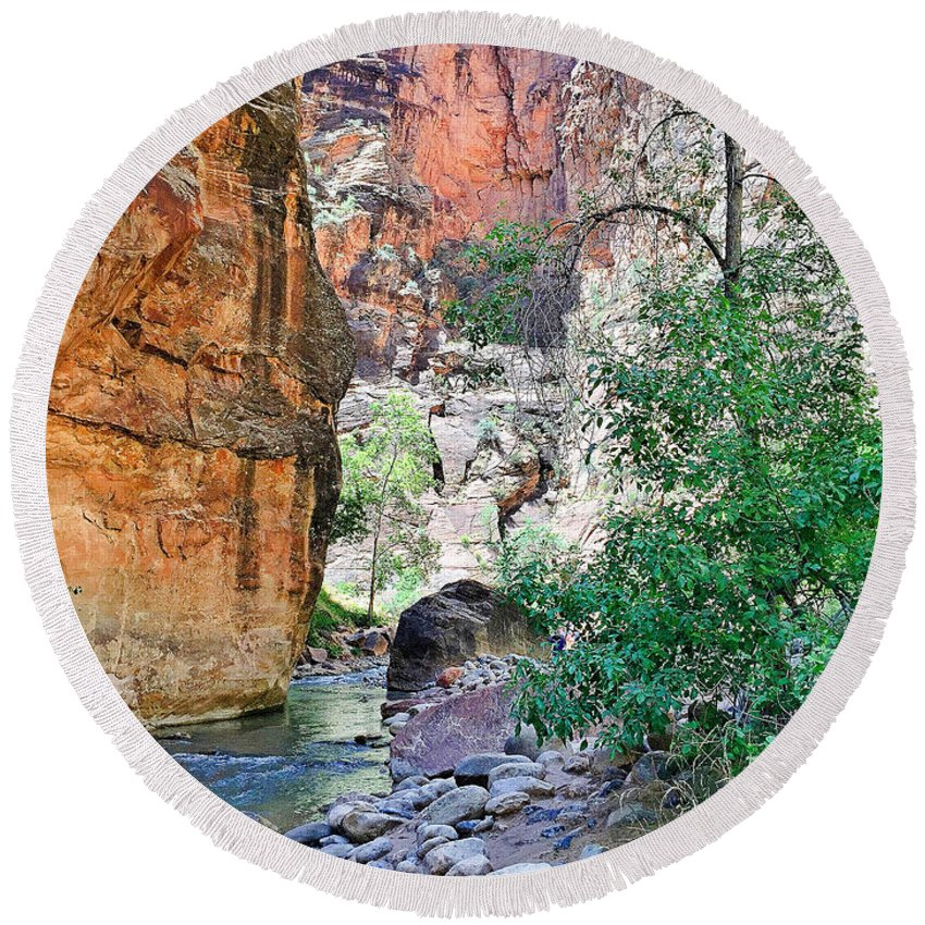 The Narrows Round Beach Towel featuring the photograph The Narrows Of The Virgin River by Robert Meyers-Lussier