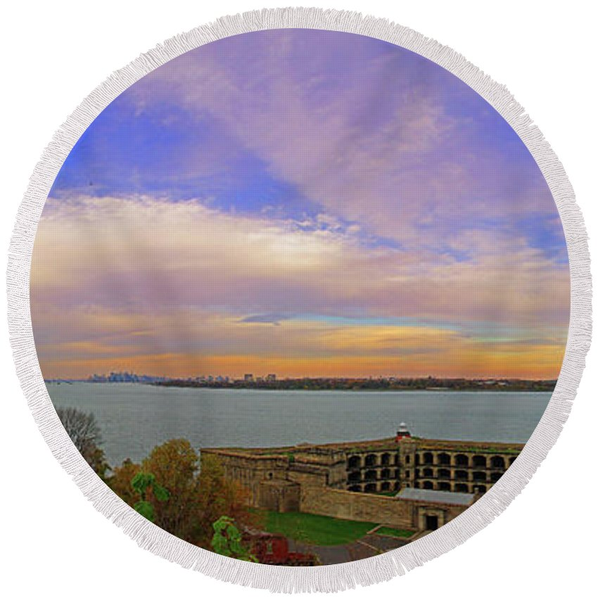 New York City Round Beach Towel featuring the photograph The Narrows by Rich Walter