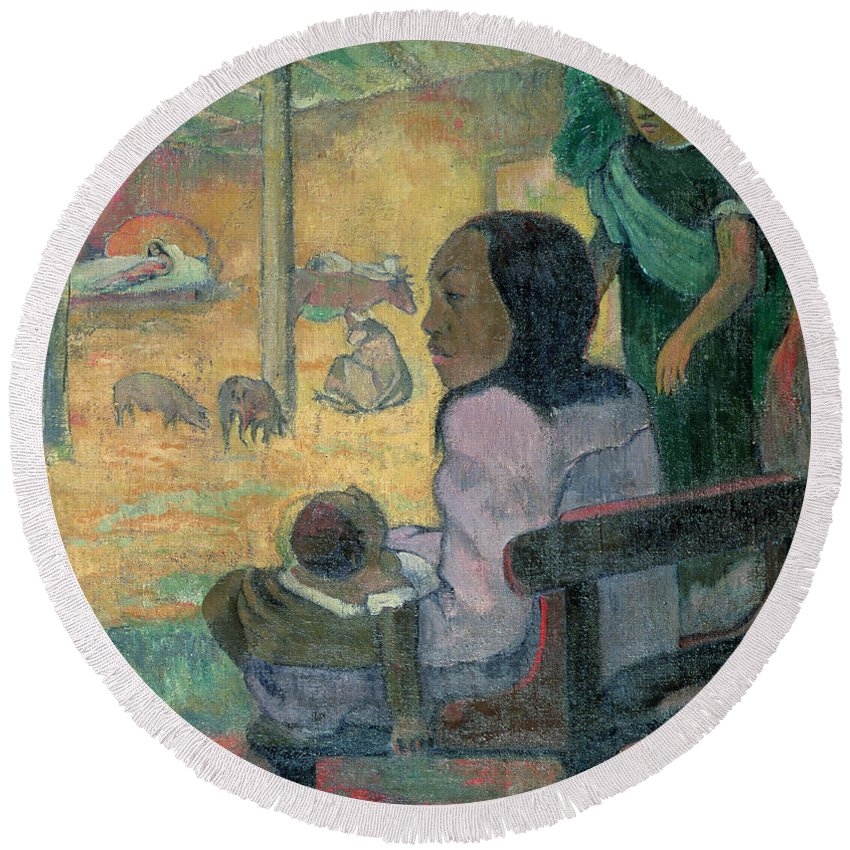 Be Be (the Nativity) Round Beach Towel featuring the painting The Nativity by Paul Gauguin