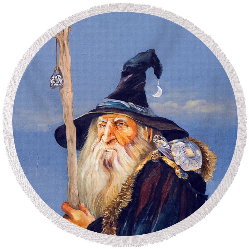 Wizard Round Beach Towel featuring the painting The Navigator by J W Baker