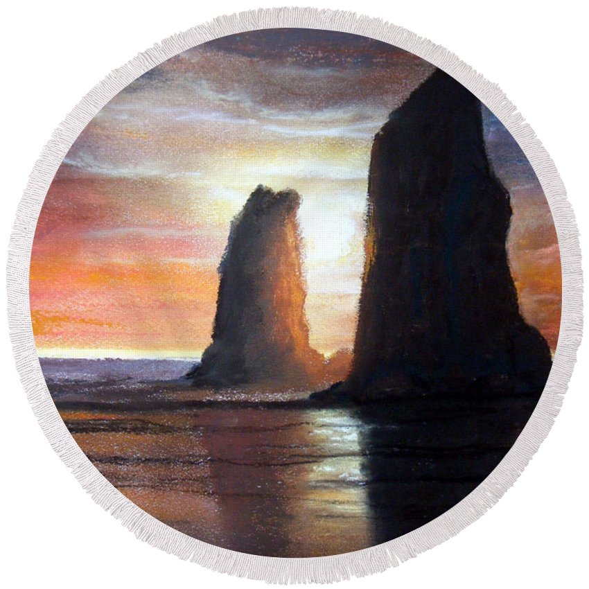 Pastels Round Beach Towel featuring the painting The Needles by Chriss Pagani