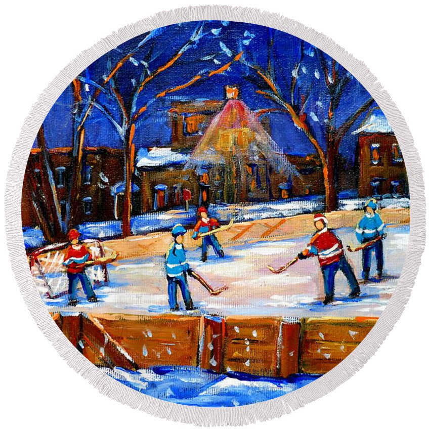 Montreal Round Beach Towel featuring the painting The Neighborhood Hockey Rink by Carole Spandau