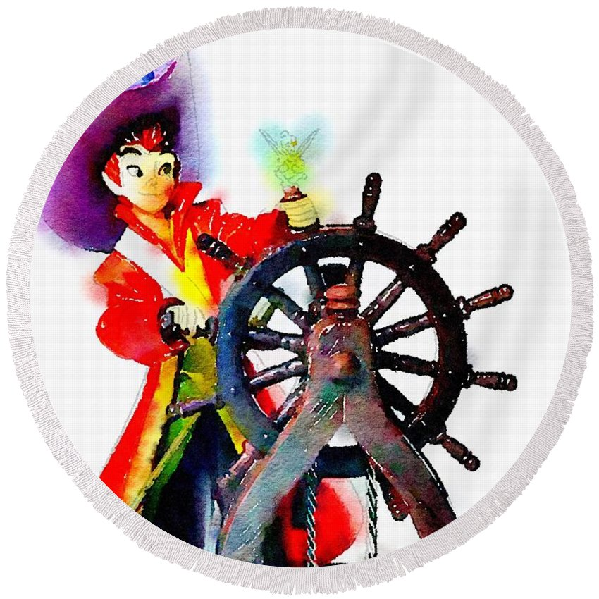 Peter Pan Round Beach Towel featuring the painting The Neverland's Sailor by Helge