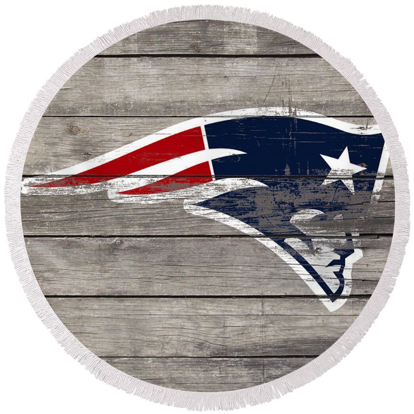 The New England Patriots Round Beach Towel featuring the mixed media The New England Patriots 3c by Brian Reaves