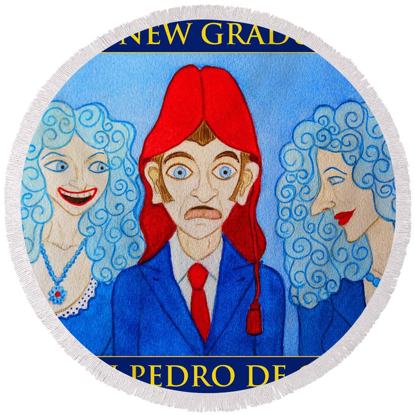 Cartoon Round Beach Towel featuring the painting The New Graduate by Don Pedro DE GRACIA