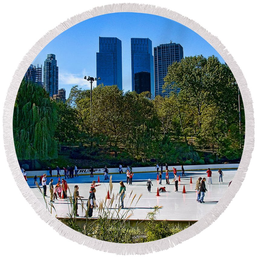 Central Park Round Beach Towel featuring the photograph The New York Central Park Ice Rink by Chris Lord