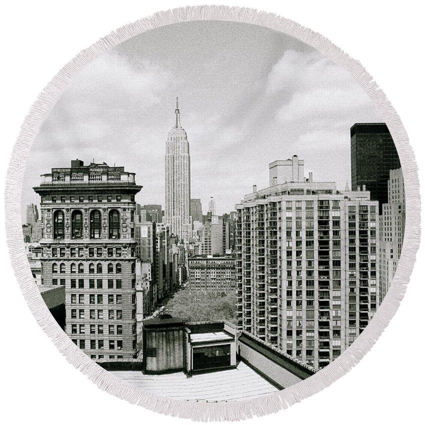 New York Round Beach Towel featuring the photograph The New York Skyline by Shaun Higson