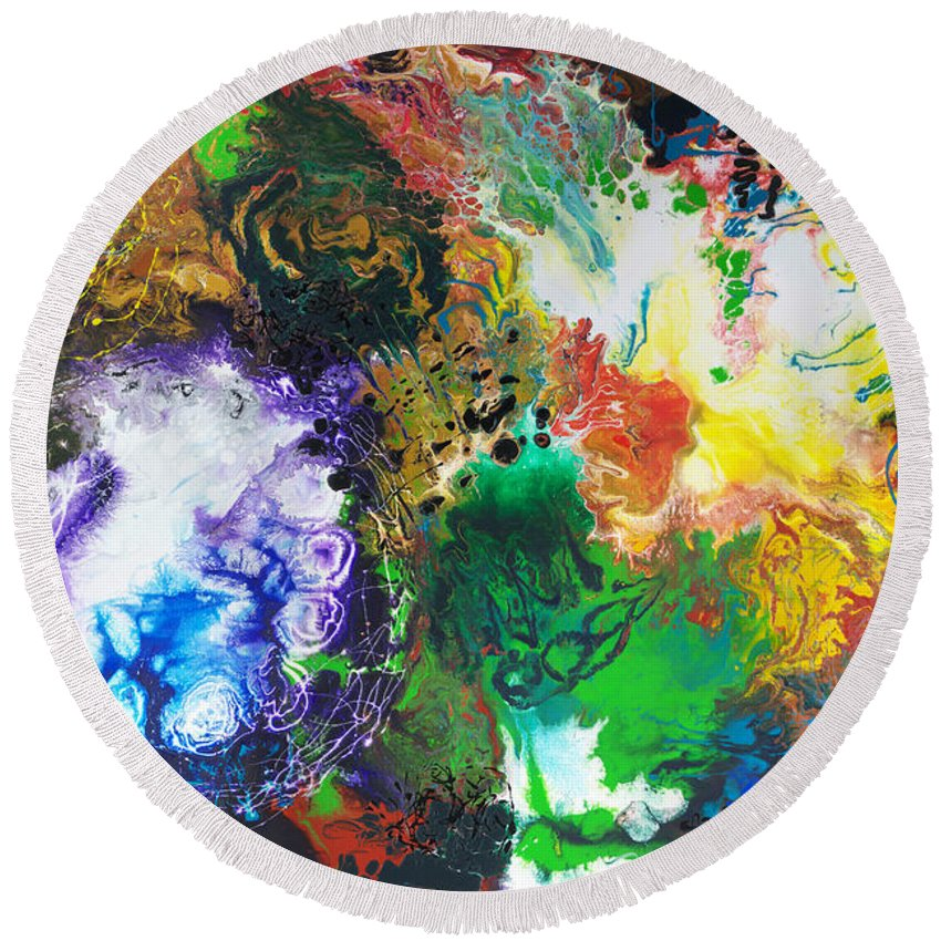 Abstract Round Beach Towel featuring the painting The Next Chapter by Sally Trace