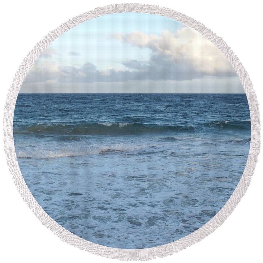 Surf Round Beach Towel featuring the photograph The Next Wave by Ian MacDonald