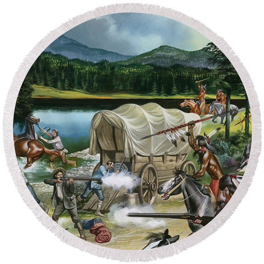 Indian; Red Man; Native American; America; Usa; Tribes; Nez Perce; Chief Joseph; Horse; Horses; Breeding; Horse Racing; Canada; Wagon Train; Covered Wagon; Rifle; Attack; Spear; Lake; Fight; Battle; Red Indians Round Beach Towel featuring the painting The Nez Perce by Ron Embleton