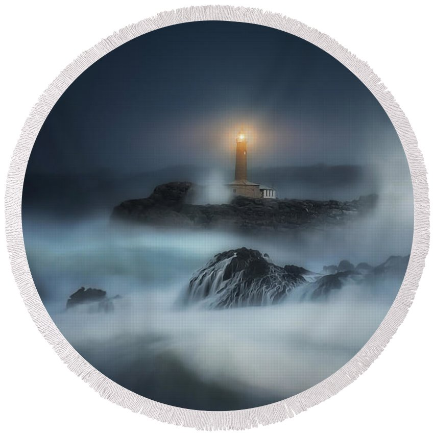 Lighthouse Round Beach Towel featuring the photograph The Night Keeper by Mikel Martinez de Osaba