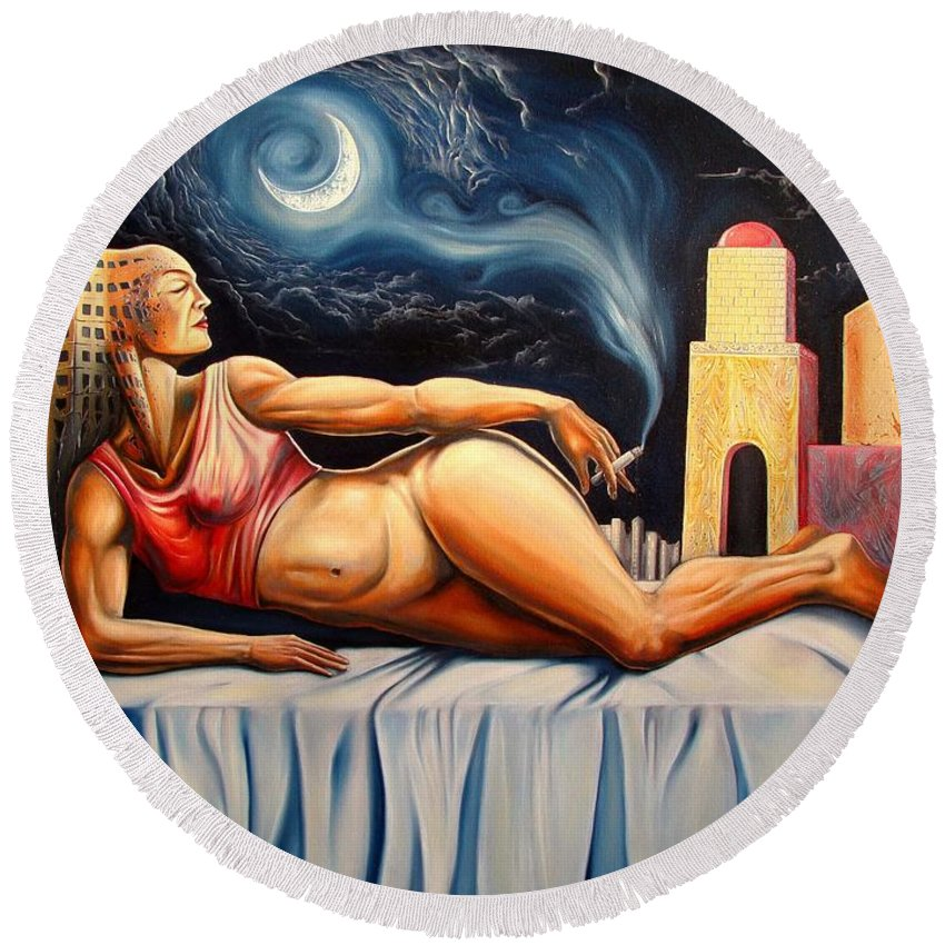 Surrealism Round Beach Towel featuring the painting The Night Muse by Darwin Leon
