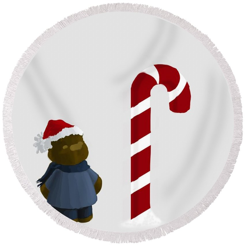 Candy Cane Round Beach Towel featuring the painting The North Pole by Jason Sharpe