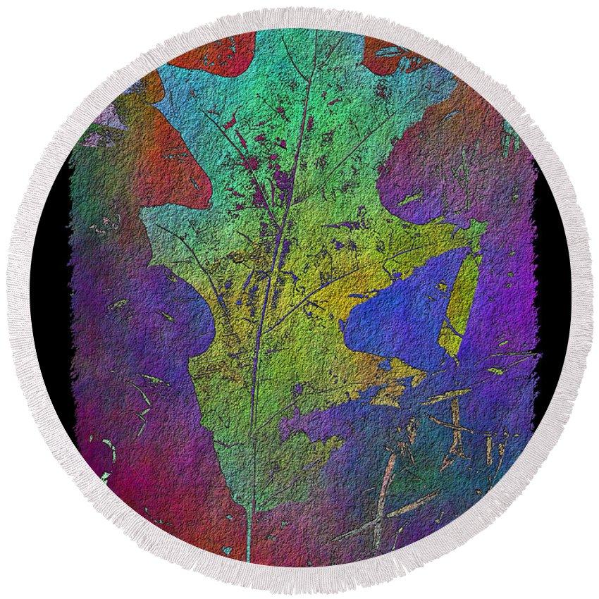 Oak Round Beach Towel featuring the digital art The Oak Leaf by Tim Allen