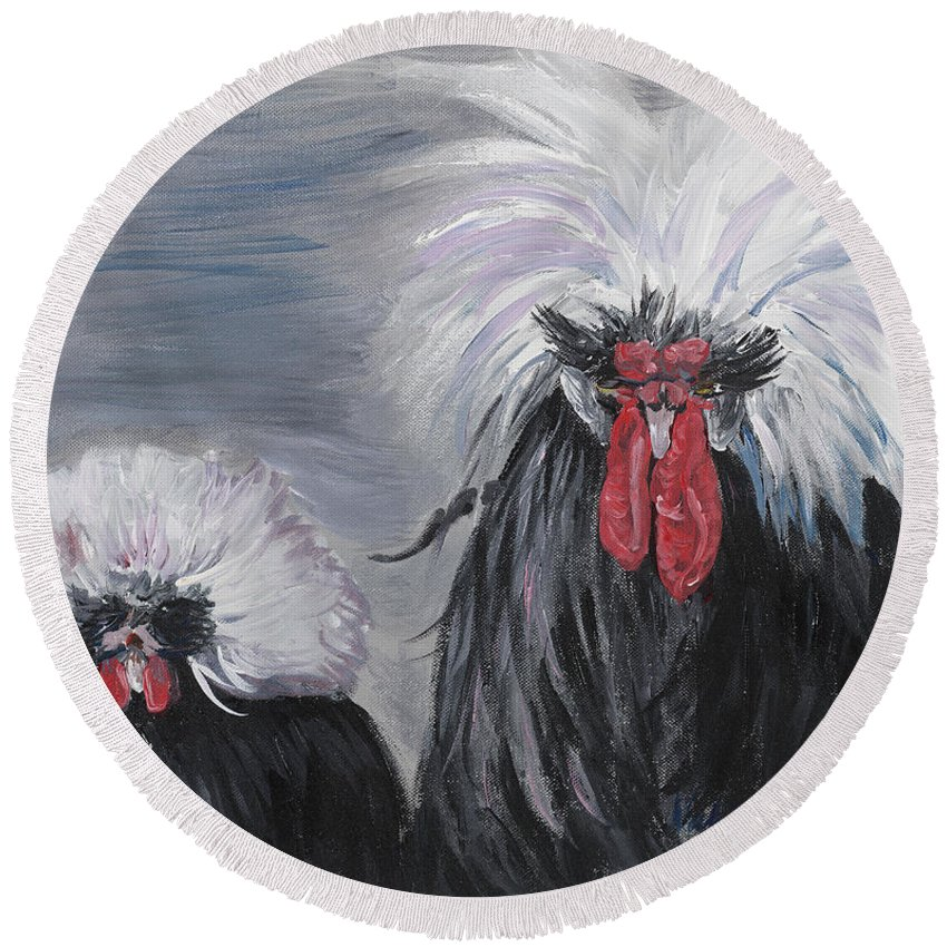 Odd Chickens With Wild Hair Round Beach Towel featuring the painting The Odd Couple by Nadine Rippelmeyer