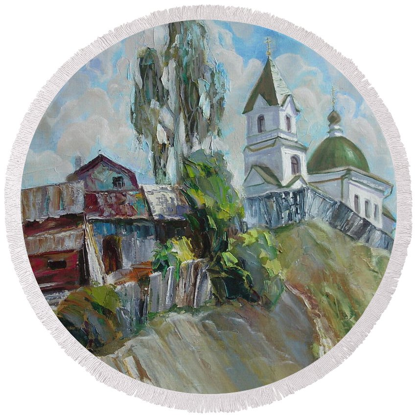 Oil Round Beach Towel featuring the painting The Old And New by Sergey Ignatenko