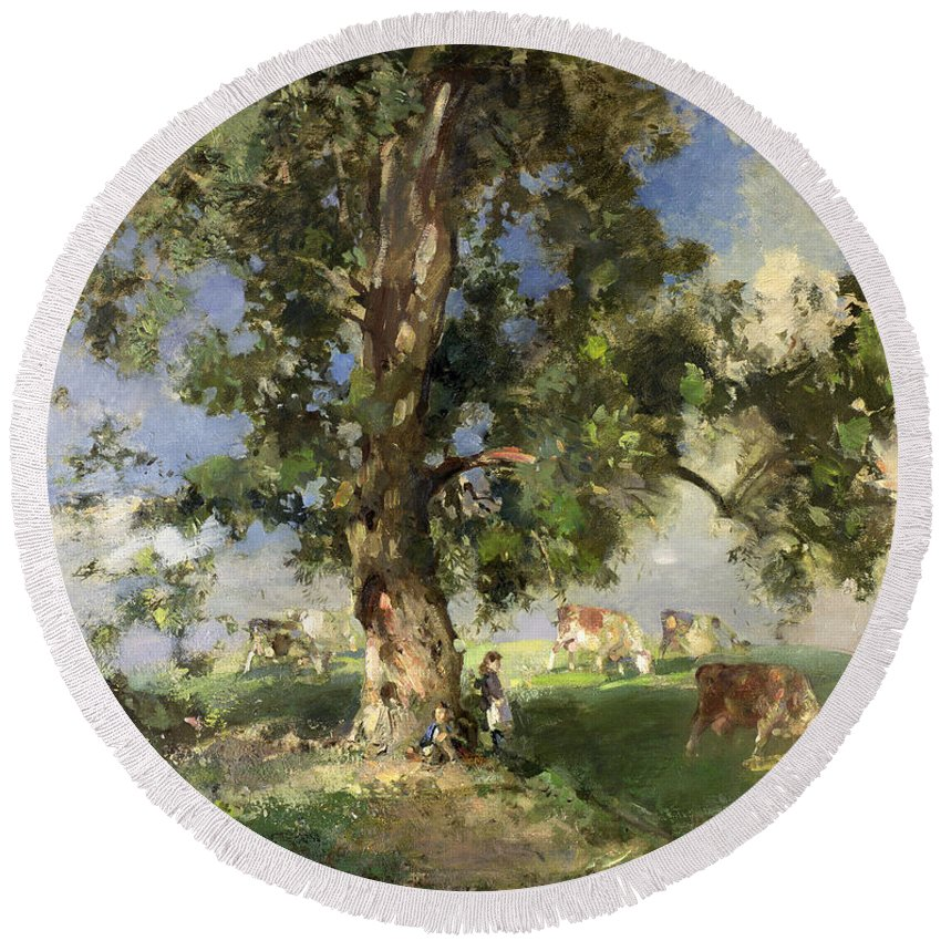 The Old Ash Tree Round Beach Towel featuring the painting The Old Ash Tree by Edward Arthur Walton