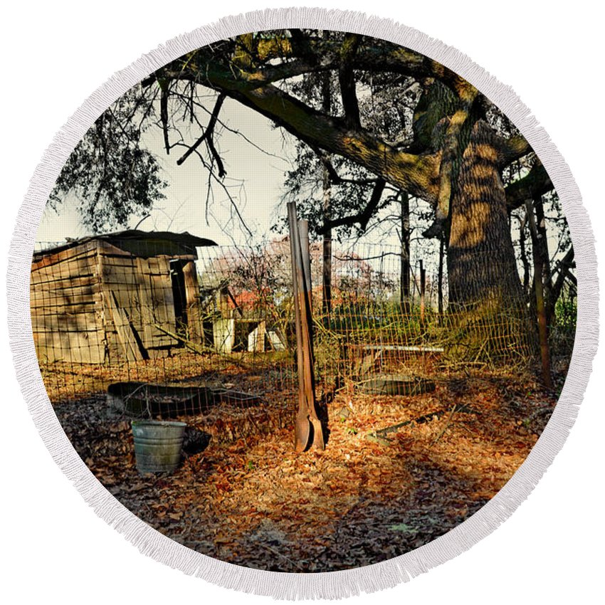 Farm Round Beach Towel featuring the photograph The Old Chicken Lot by Aaron Shortt