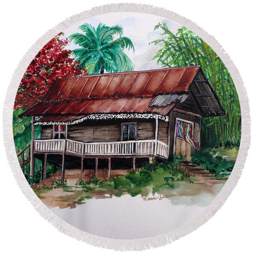 Tropical Painting Poincianna Painting Caribbean Painting Old House Painting Cocoa House Painting Trinidad And Tobago Painting  Tropical Painting Flamboyant Painting Poinciana Red Greeting Card Painting Round Beach Towel featuring the painting The Old Cocoa House by Karin Dawn Kelshall- Best