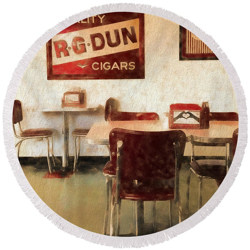The Old Diner Round Beach Towel featuring the mixed media The Old Diner by Dan Sproul