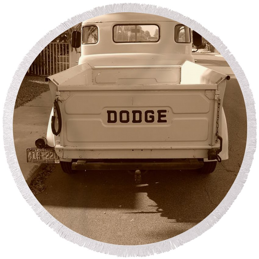Sepia Round Beach Towel featuring the photograph The Old Dodge by Rob Hans