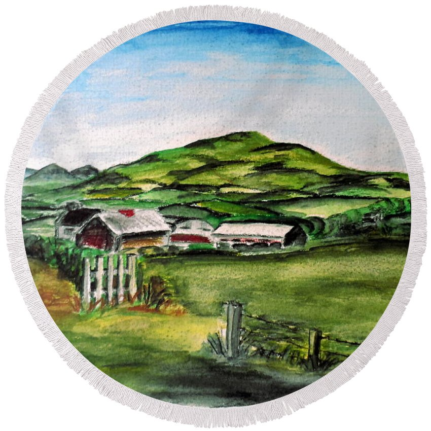 Landscape Round Beach Towel featuring the painting The Old Farm by Alan Hogan