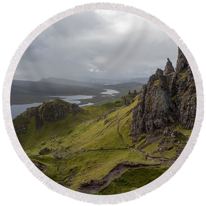 View Round Beach Towel featuring the photograph The Old Man Of Storr, Isle Of Skye, Uk by Dubi Roman
