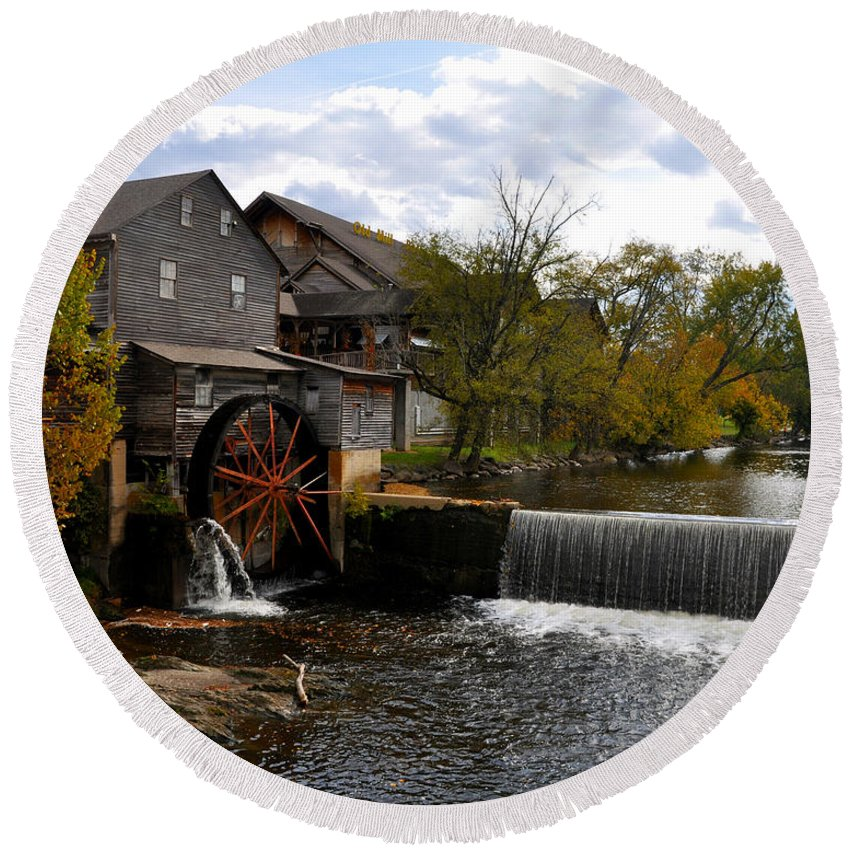 Smokey Mountain Round Beach Towel featuring the photograph The Old Mill by Brittany Horton