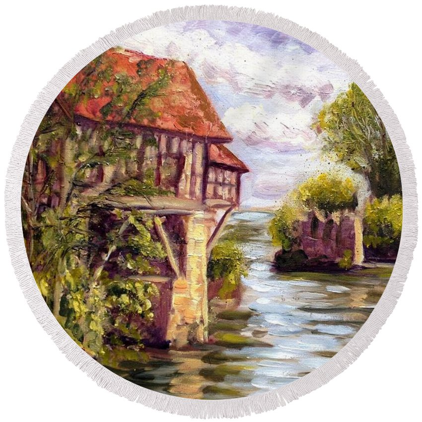 Mill Round Beach Towel featuring the painting The Old Mill Of Vernon by Elena Sokolova