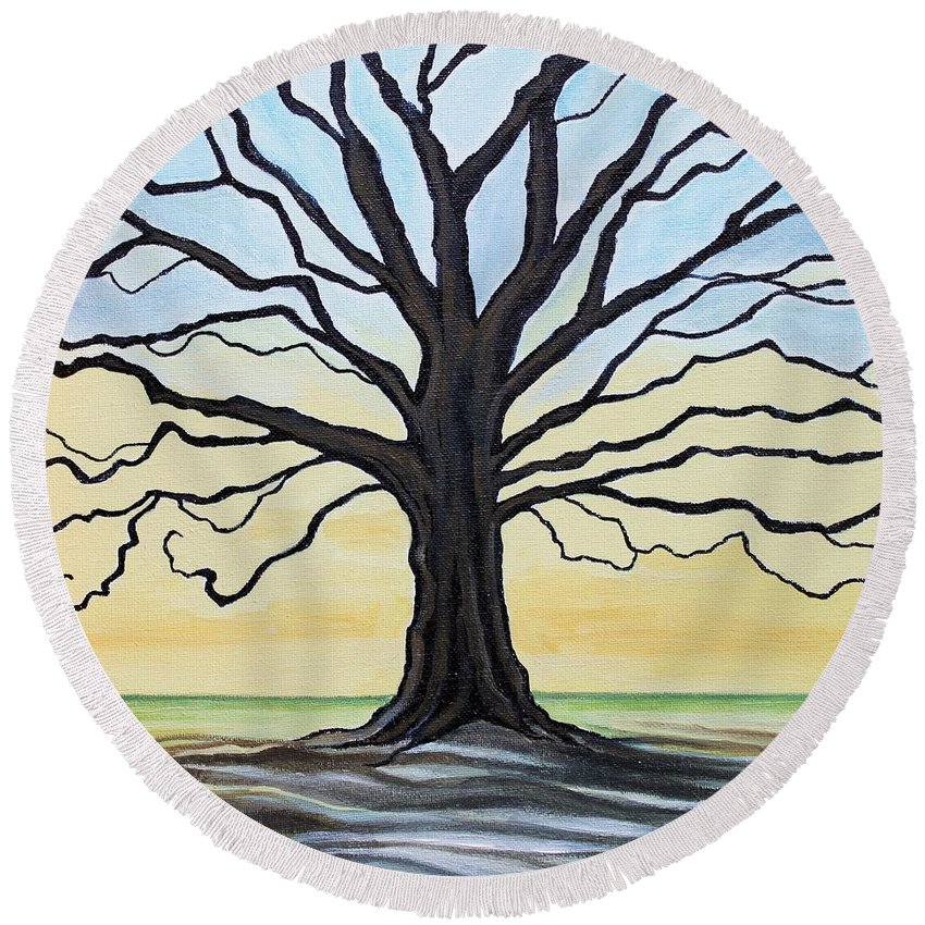 Oak Tree Round Beach Towel featuring the painting The Stained Old Oak Tree by Elizabeth Robinette Tyndall